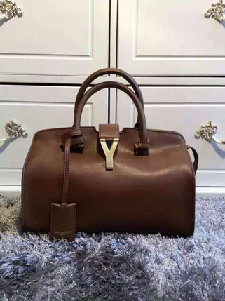 F/W 2015 New Saint Laurent Bag Cheap Sale-Saint Laurent Small Monogram Petit Cabas Y in Chocolate Leather