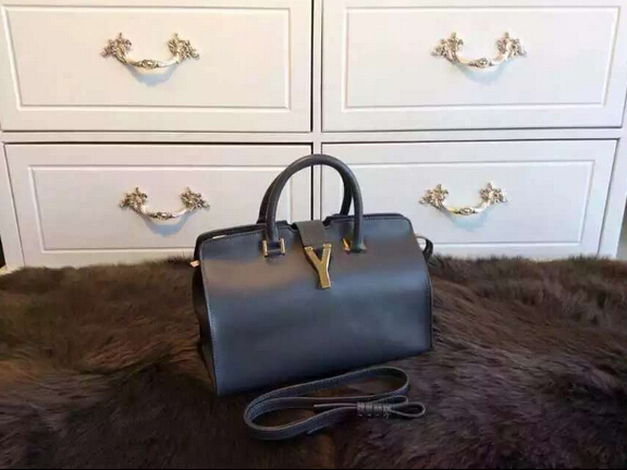 F/W 2015 New Saint Laurent Bag Cheap Sale-Saint Laurent Small Monogram Petit Cabas Y in Elephant Grey Leather