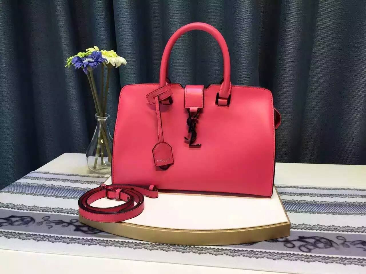 Limited Edition!2016 YSL Collection Outlet-Saint Laurent Small Monogram Cabas Bag in Fuchsia Leather