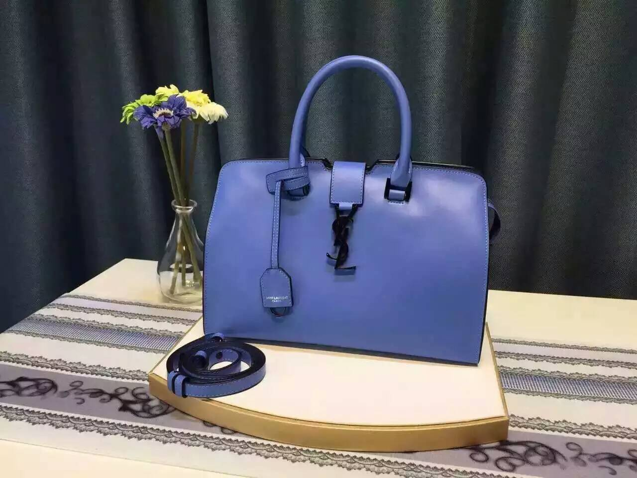 Limited Edition!2016 YSL Collection Outlet-Saint Laurent Small Monogram Cabas Bag in Royal Blue Leather