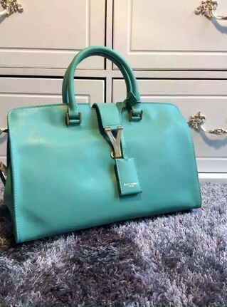 F/W 2015 New Saint Laurent Bag Cheap Sale-Saint Laurent Small Monogram Petit Cabas Y in Turquoise Leather