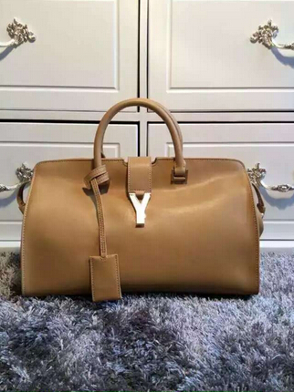 F/W 2015 New Saint Laurent Bag Cheap Sale-Saint Laurent Small Monogram Petit Cabas Y in Tan Leather