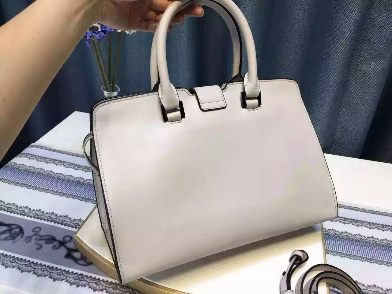 S/S 2016 New Saint Laurent Bag Cheap Sale-Saint Laurent Small Monogram Cabas Bag in Dove White and Black Leather