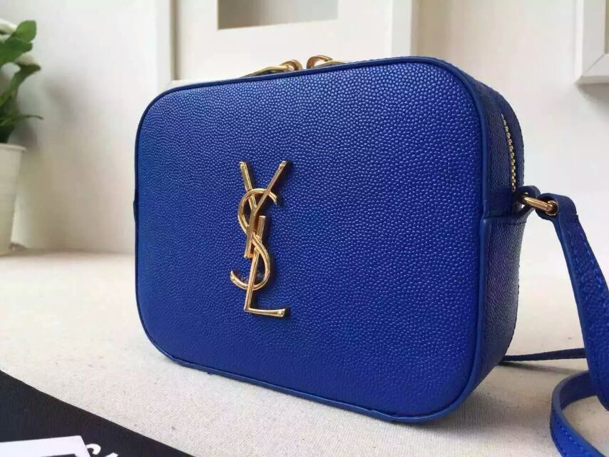2015 New Saint Laurent Bag Cheap Sale- Saint Laurent Classic Small Monogram Camera Bag in Royal Blue Grain De Poudre Textured Leather