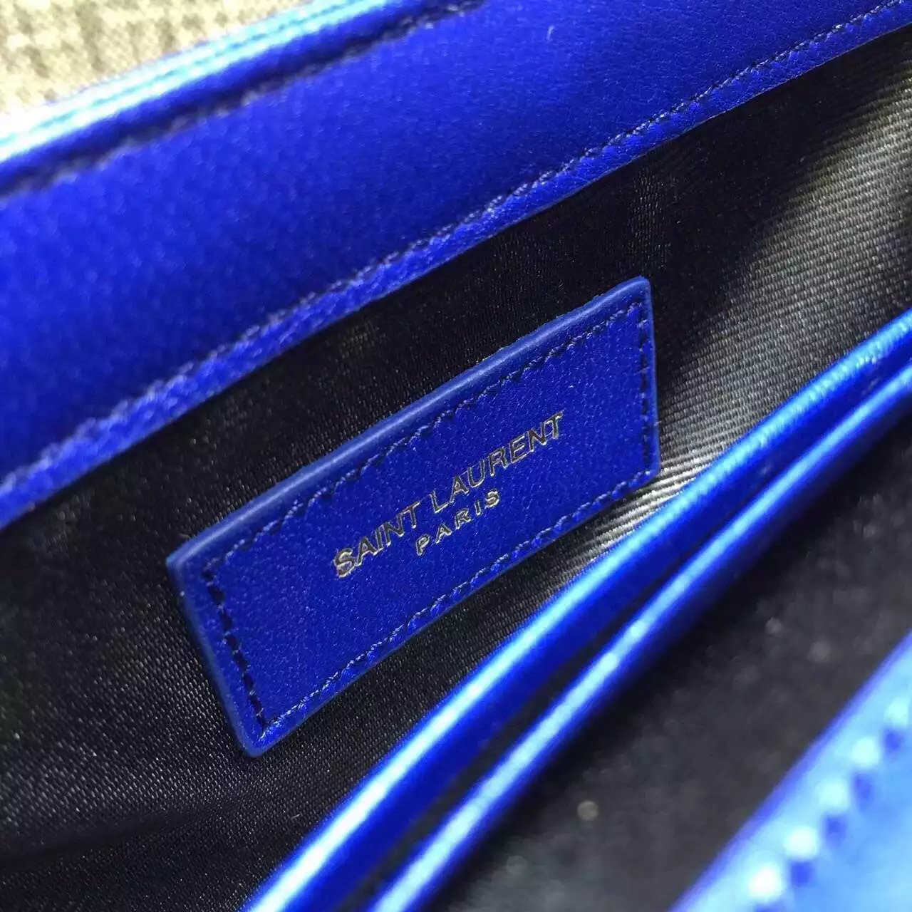2015 Cheap YSL Outsale with Free Shipping-Saint Laurent Classic Baby Monogram Satchel in Electric Blue Matelasse Leather with Gold Hardware