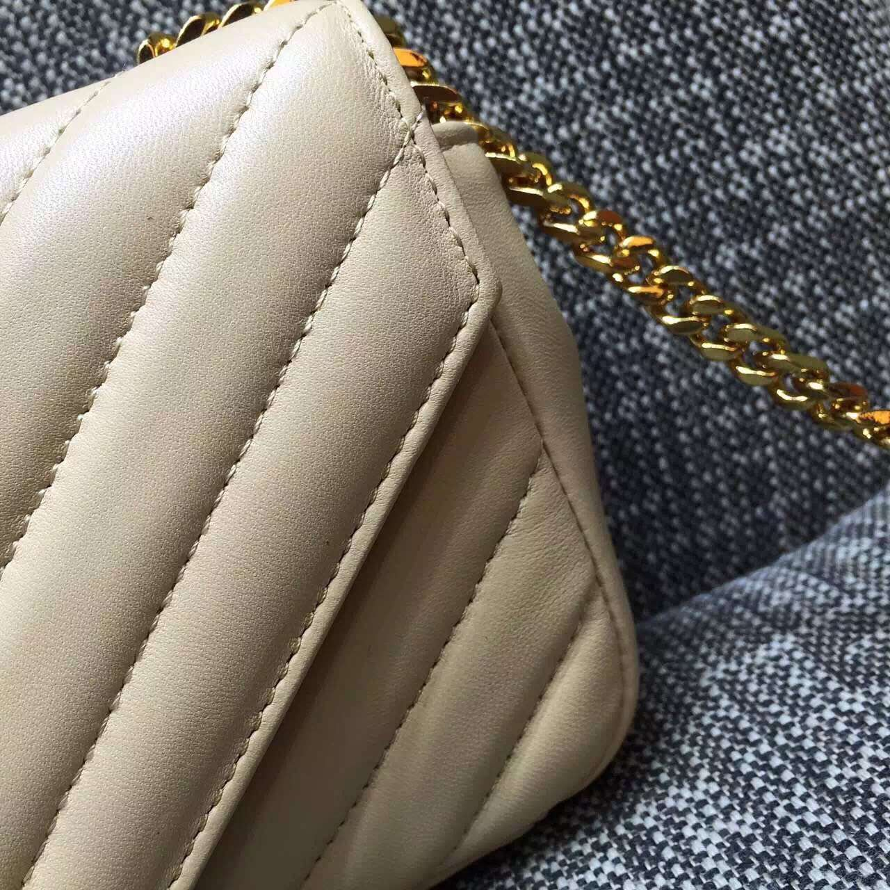 2015 Cheap YSL Out Sale with Free Shipping-Saint Laurent Classic Baby Monogram Satchel in Off-white Matelasse Leather with Gold Hardware