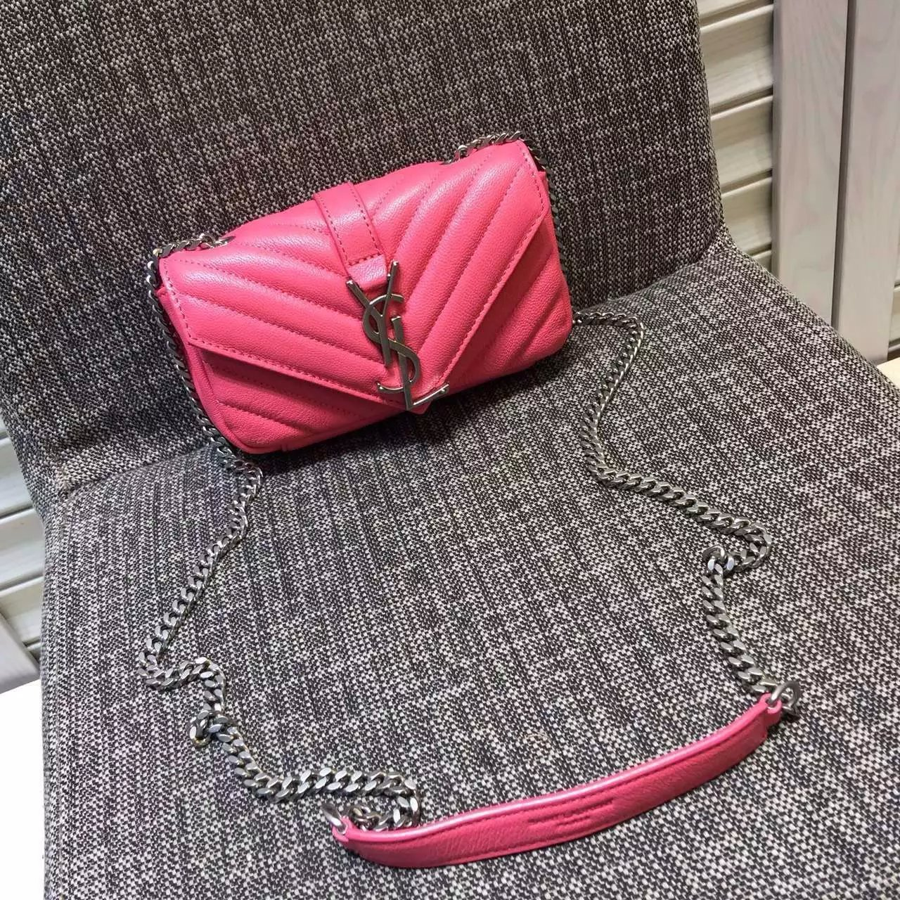 2016 Cheap YSL Outsale with Free Shipping-Saint Laurent Classic Baby Monogram Satchel in Pink Matelasse Leather with Silver Hardware