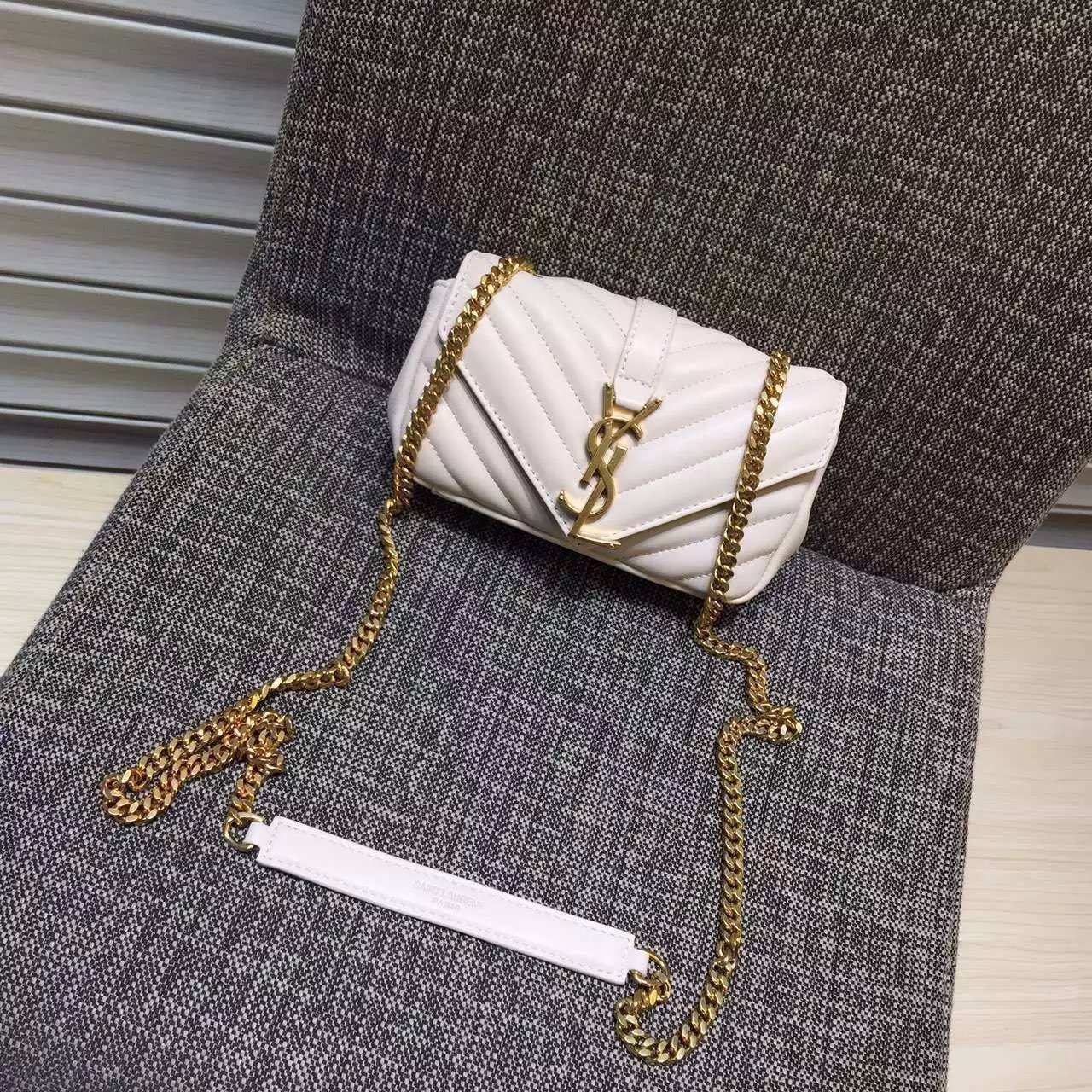 2016 Cheap YSL Outsale with Free Shipping-Saint Laurent Classic Baby Monogram Satchel in White Matelasse Leather with Gold Hardware