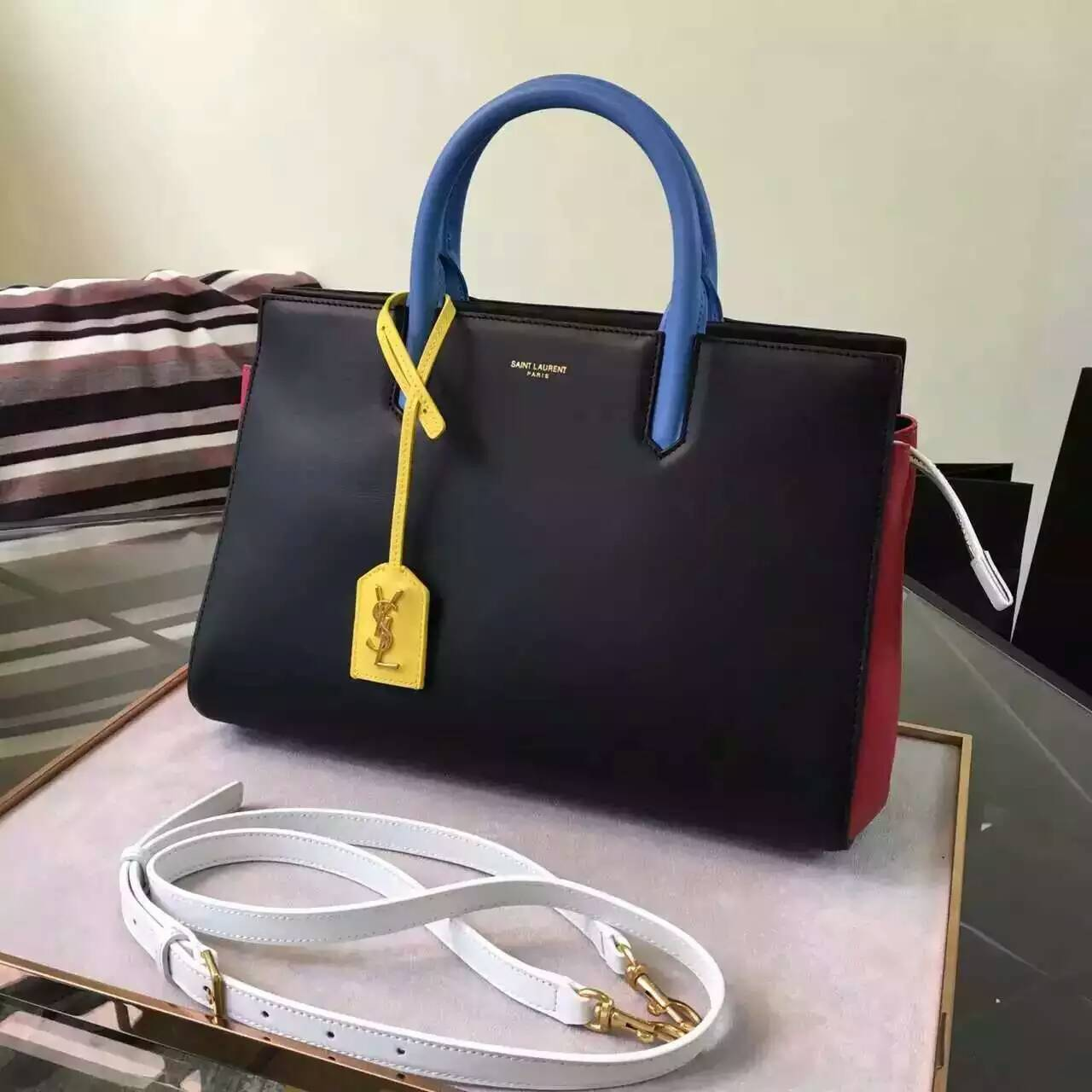 S/S 2016 New Saint Laurent Bag Cheap Sale-Saint Laurent Small Cabas Rive Gauche Bag in Black, Red, Dove White, Light Blue and Yellow Leather
