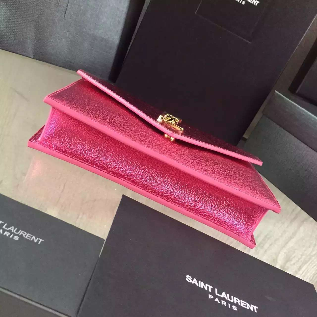 2016 Cheap YSL Out Sale with Free Shipping-Saint Laurent Monogram Envelope Chain Wallet in Lipstick Fuchsia Grain Leather