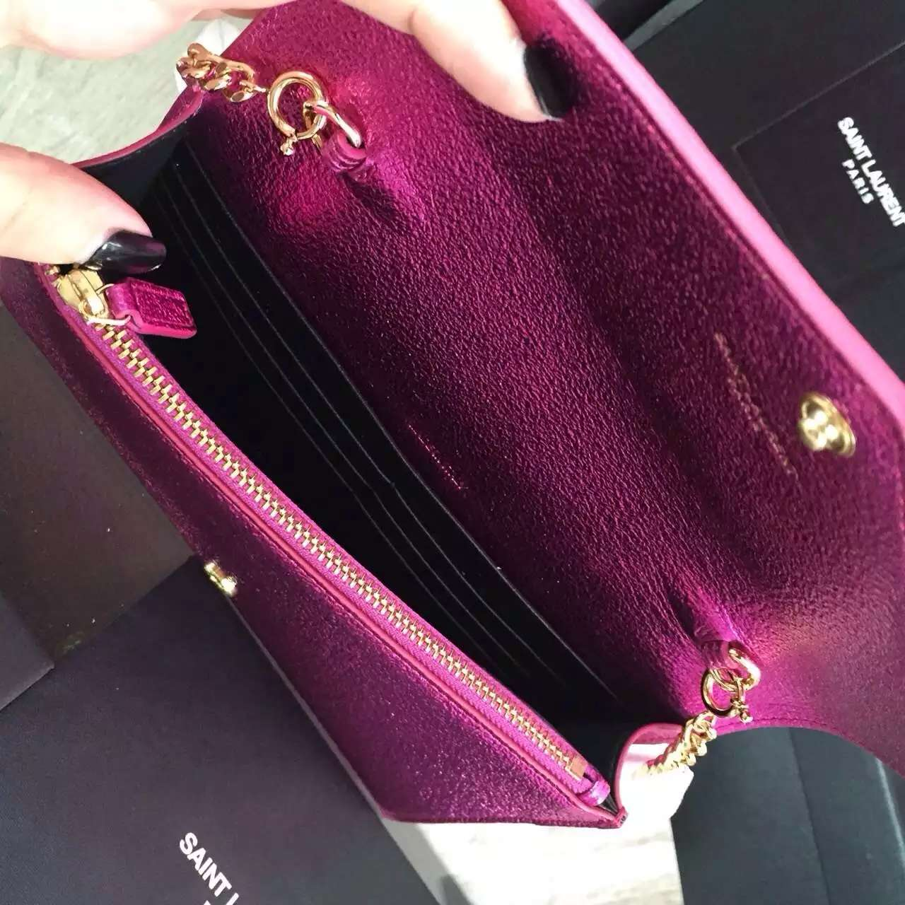 2016 Cheap YSL Out Sale with Free Shipping-Saint Laurent Monogram Envelope Chain Wallet in Rose Grain Leather