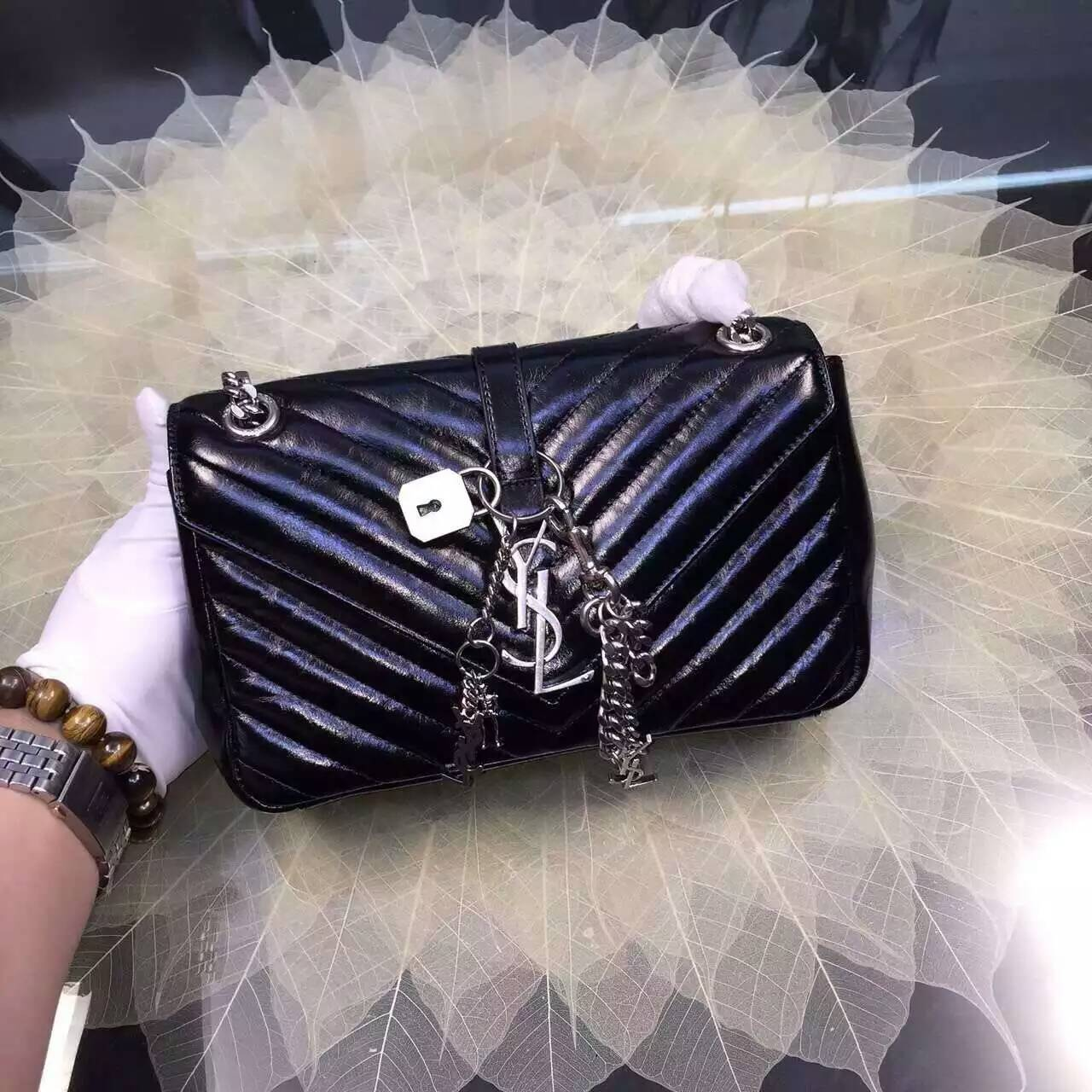 2016 Cheap YSL Out Sale with Free Shipping-Saint Laurent Classic Medium Baby Monogram Satchel in Black Matelasse Leather Silver
