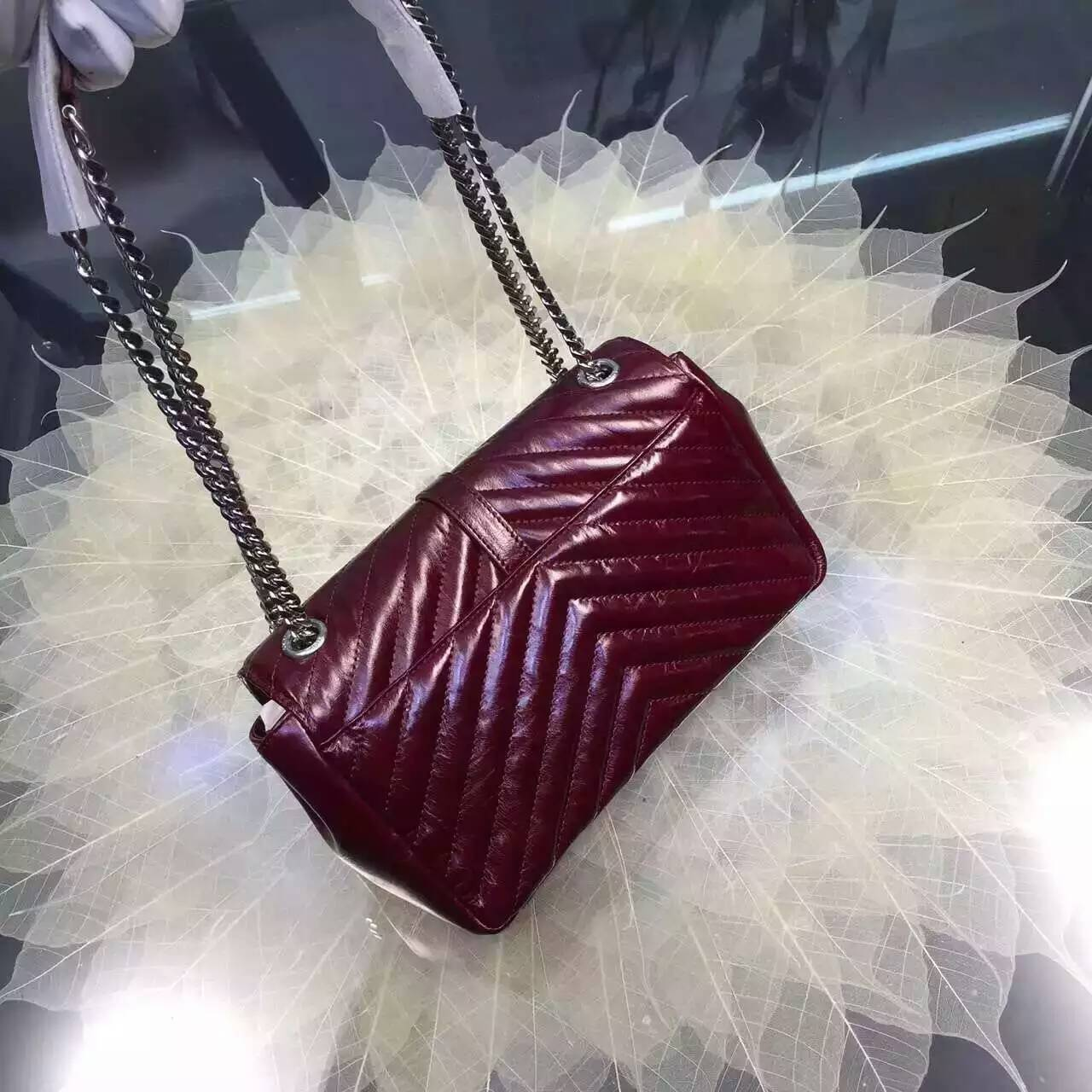 2016 Cheap YSL Out Sale with Free Shipping-Saint Laurent Classic Medium Baby Monogram Satchel in Bordeaux Matelasse Leather Silver