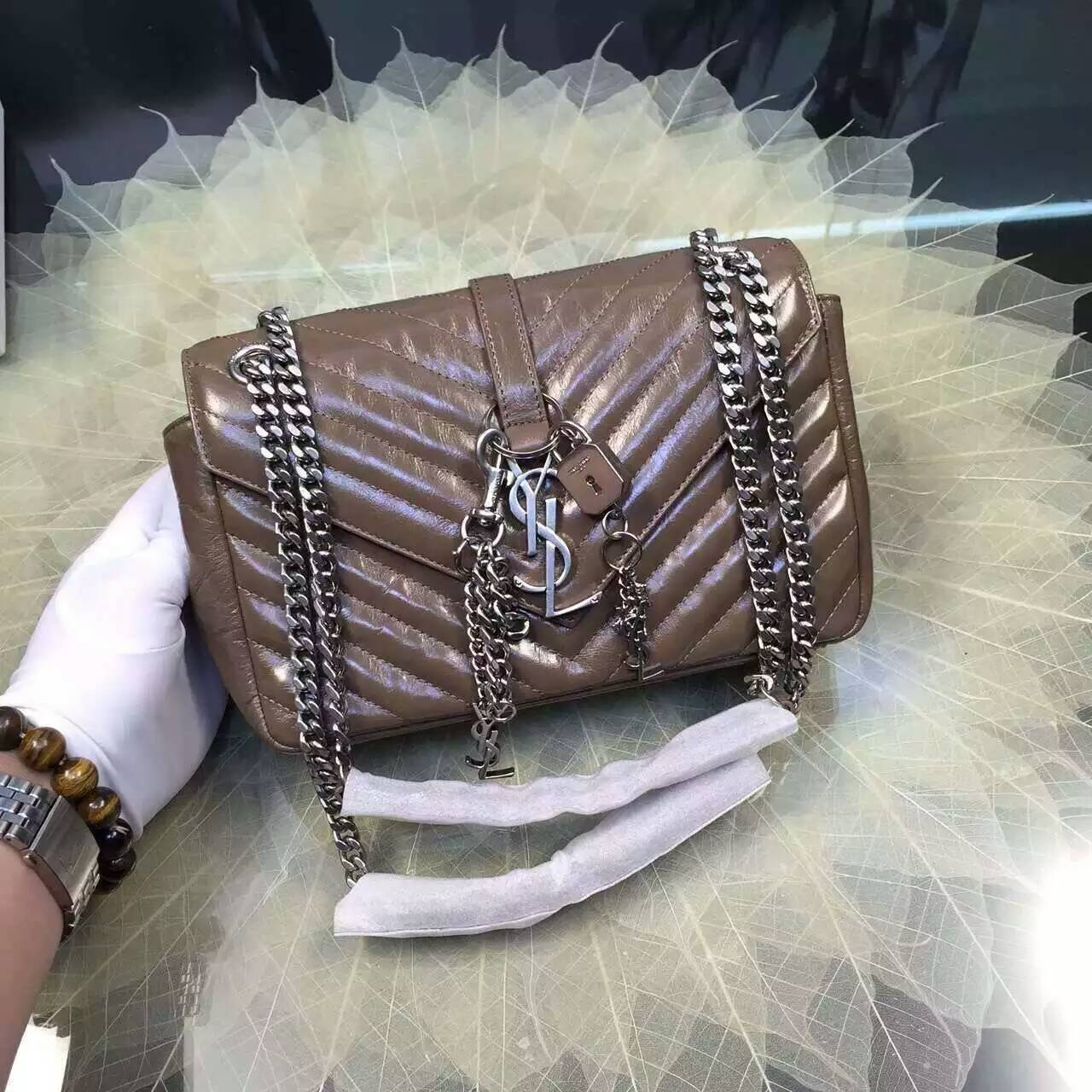 2016 Cheap YSL Out Sale with Free Shipping-Saint Laurent Classic Medium Baby Monogram Satchel in Khaki Matelasse Leather Silver