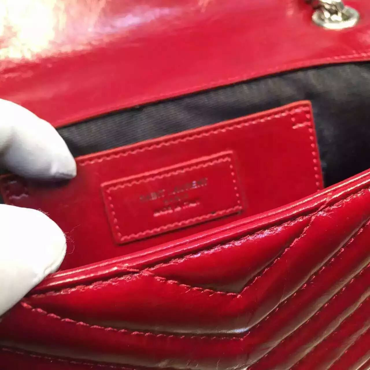2016 Cheap YSL Out Sale with Free Shipping-Saint Laurent Classic Medium Baby Monogram Satchel in Red Matelasse Leather Silver