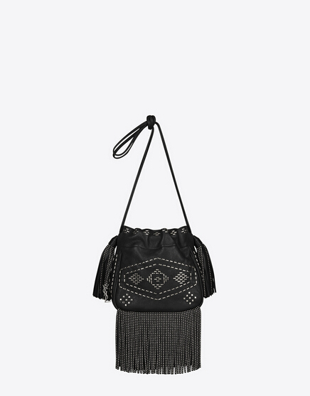 Limited Edition!2016 New Saint Laurent Bag Cheap Sale-Saint Laurent Small Helena Fringed Bucket Bag in Black Leather and Oxidized Nickel - Click Image to Close