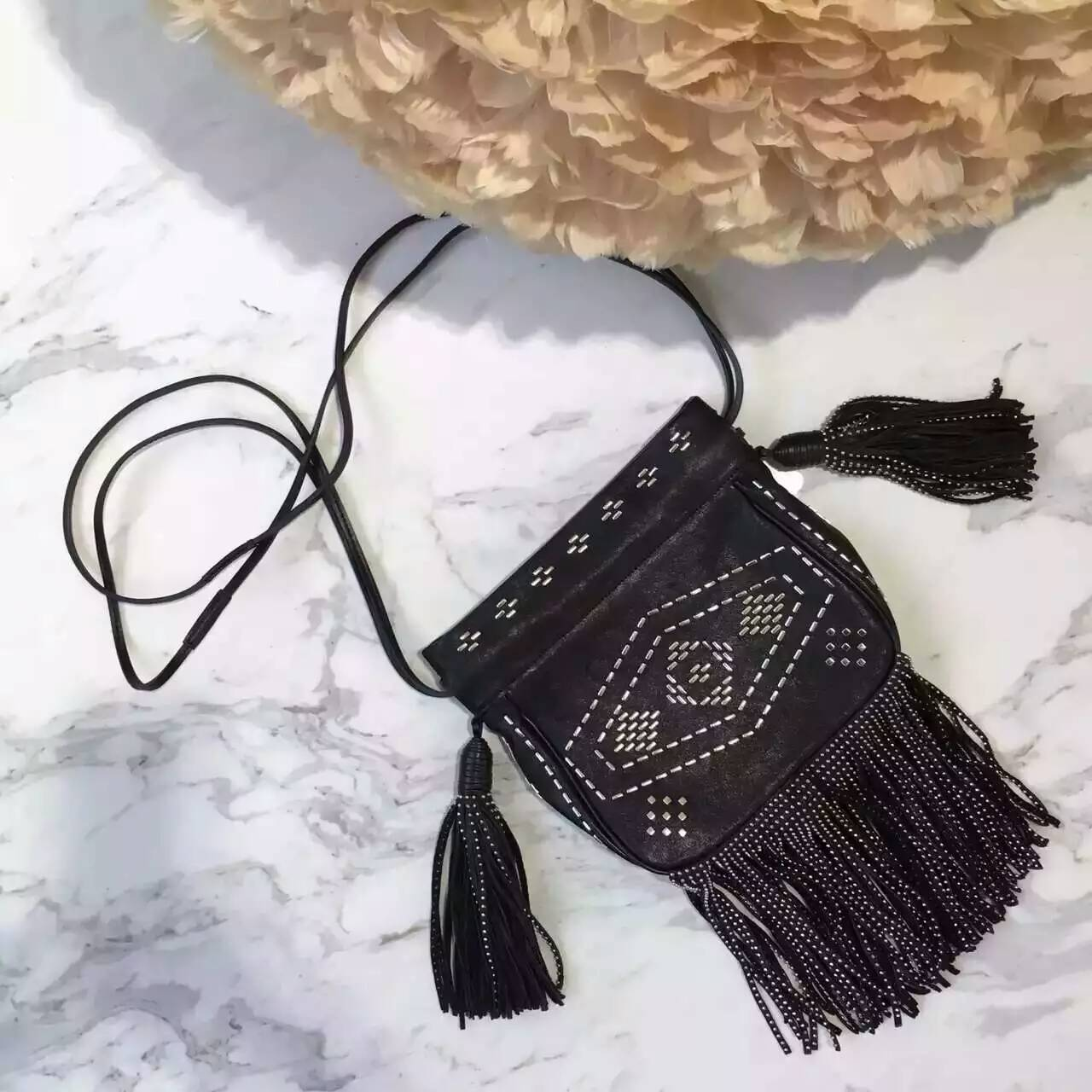 Limited Edition!2016 New Saint Laurent Bag Cheap Sale-Saint Laurent Small Helena Fringed Bucket Bag in Black Leather and Oxidized Nickel