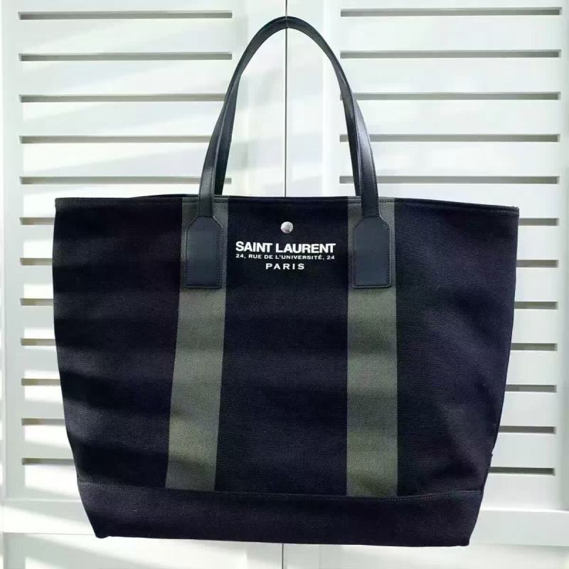 Limited Edition!2016 Cheap YSL Out Sale with Free Shipping-Saint Laurent Beach Shopping East/West Tote Bag in Black and Khaki Canvas and Black Leather