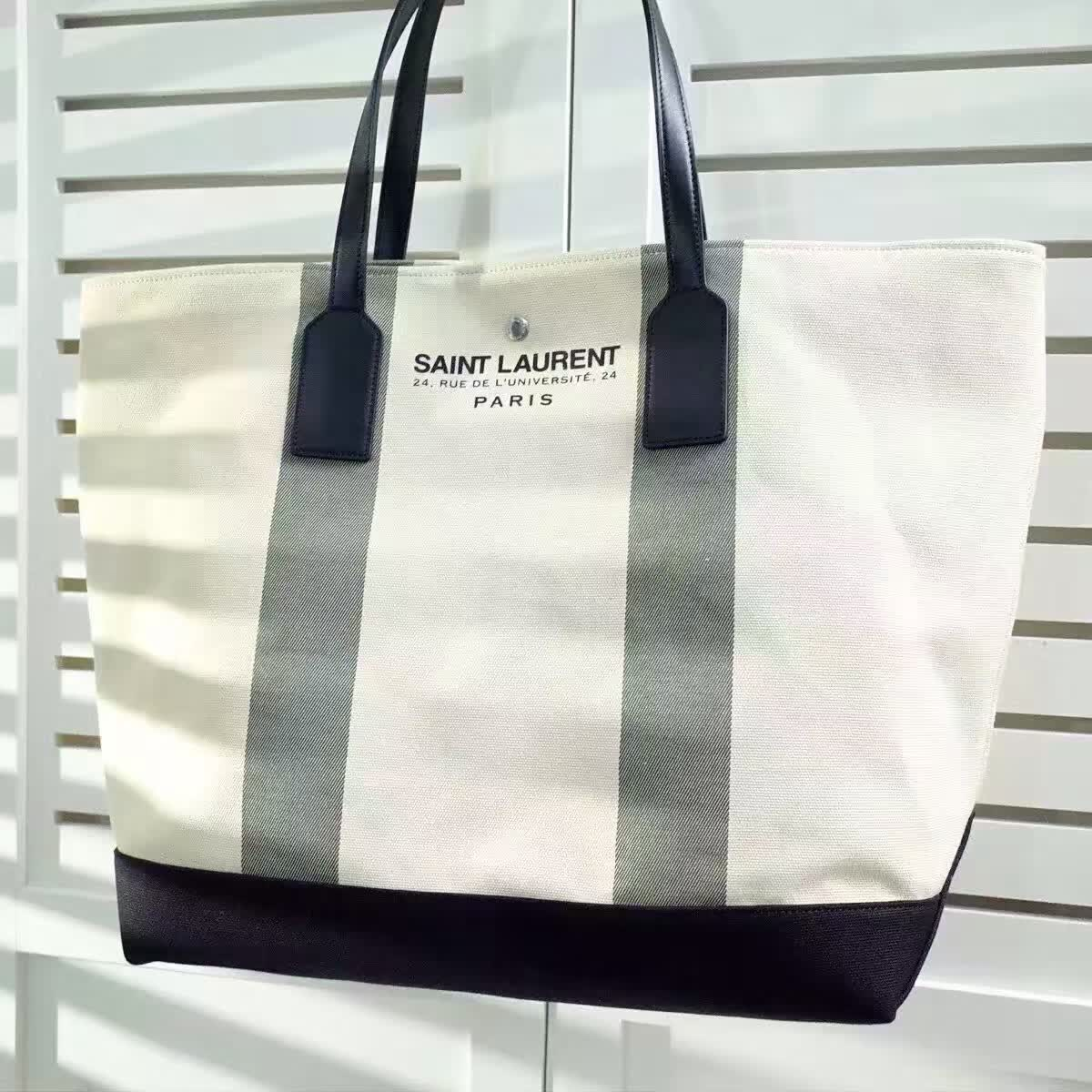 Limited Edition!2016 Cheap YSL Out Sale with Free Shipping-Saint Laurent Beach Shopping East/West Tote Bag in Light Beige and Khaki Canvas and Black Leather