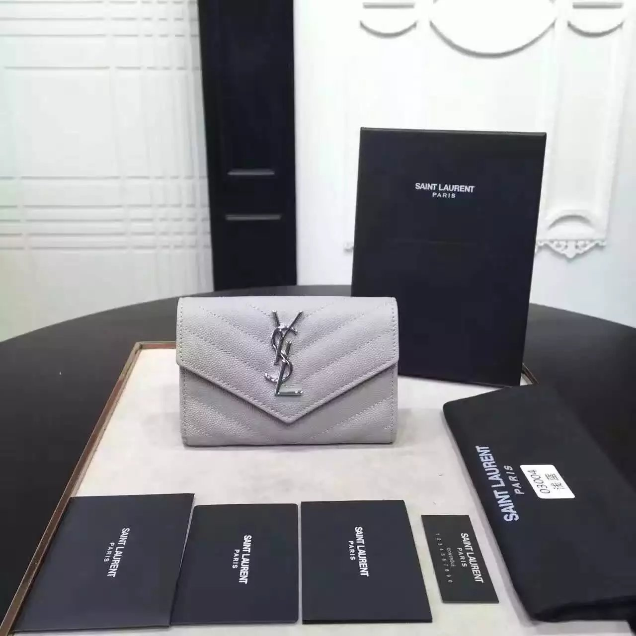 2016 Cheap YSL Out Sale with Free Shipping-Saint Laurent Envelope Wallet in Light Grey Grain de Poudre Textured Matelassé Leather