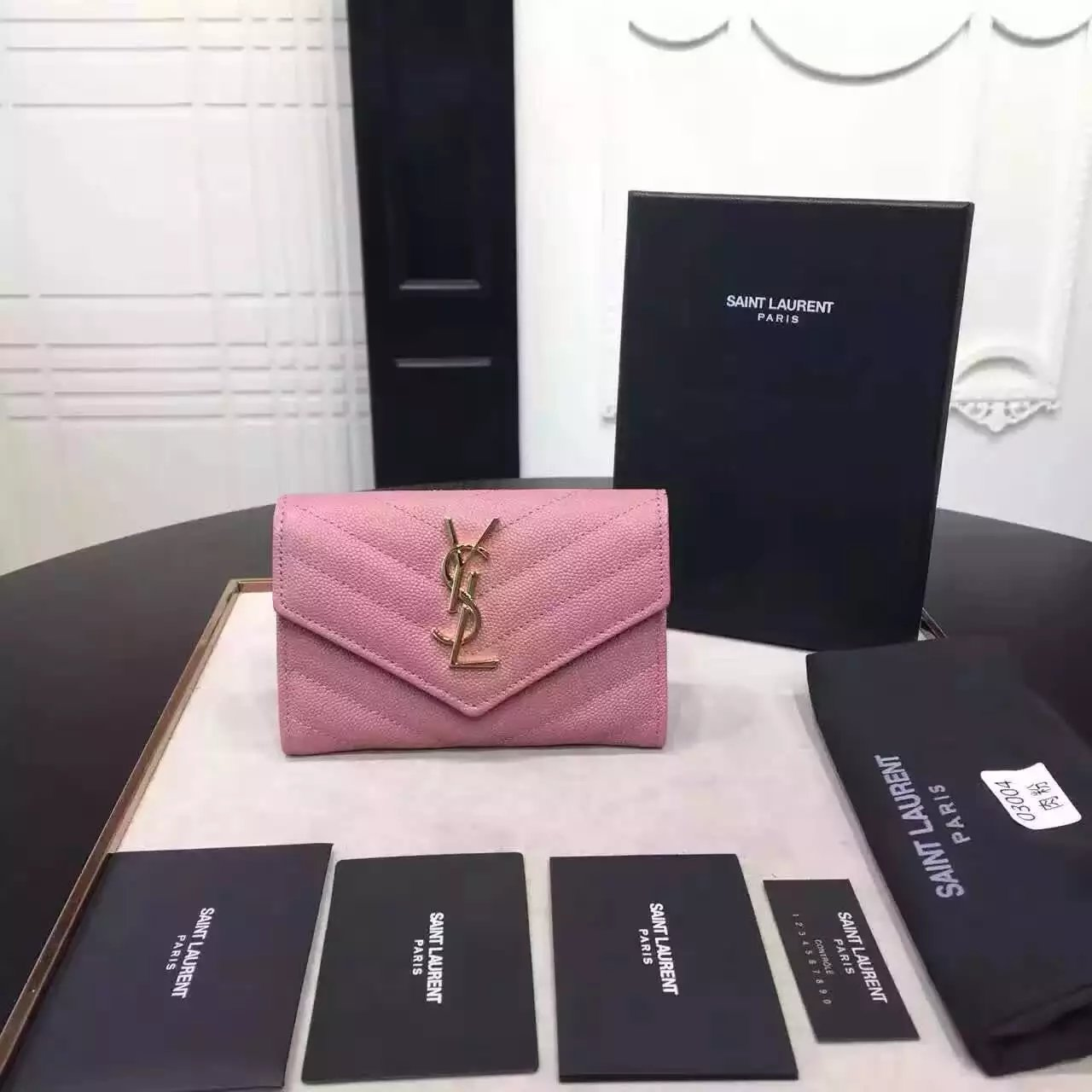 2016 Cheap YSL Out Sale with Free Shipping-Saint Laurent Envelope Wallet in Pink Grain de Poudre Textured Matelassé Leather