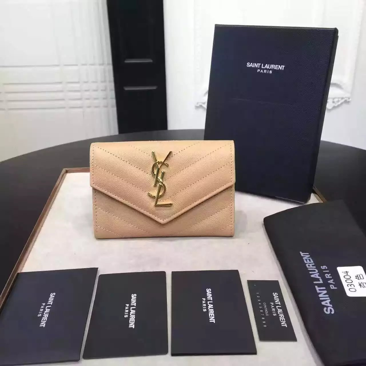 2016 Cheap YSL Out Sale with Free Shipping-Saint Laurent Envelope Wallet in Powder Grain de Poudre Textured Matelassé Leather