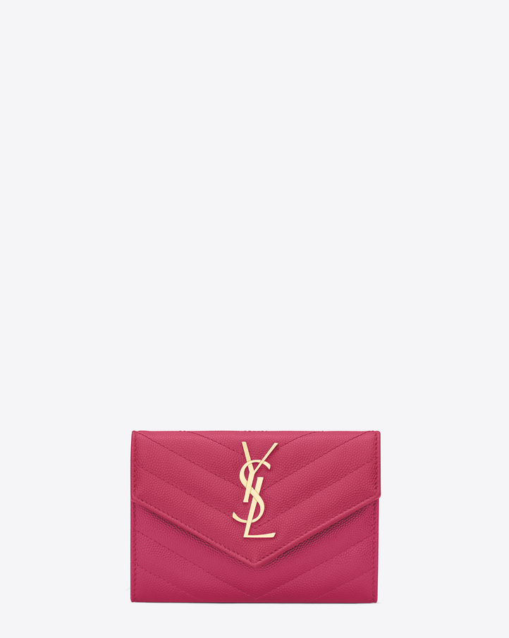 2016 Cheap YSL Out Sale with Free Shipping-Saint Laurent Envelope Wallet in Lipstick Fuchsia Grain de Poudre Textured Matelassé Leather