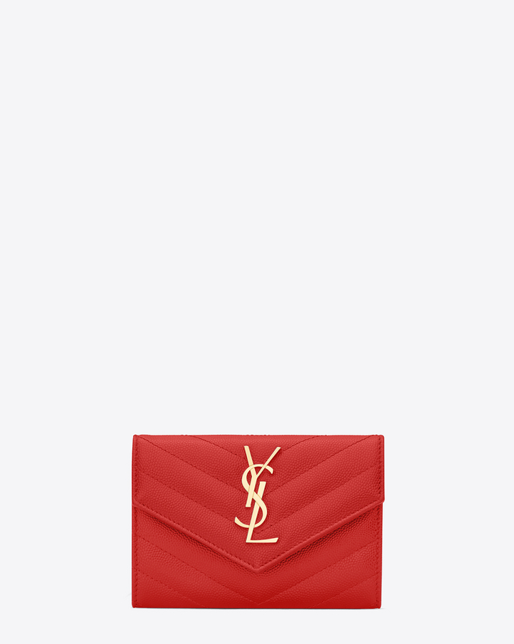 2016 Cheap YSL Out Sale with Free Shipping-Saint Laurent Envelope Wallet in Red Grain de Poudre Textured Matelassé Leather