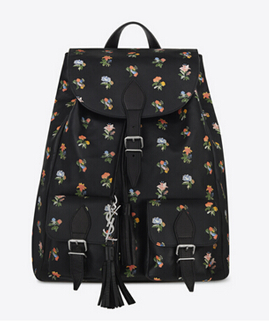2016 New Saint Laurent Bag Cheap Sale-Saint Laurent Festival Backpack in Black and Multicolor Prairie Flower Printed Leather
