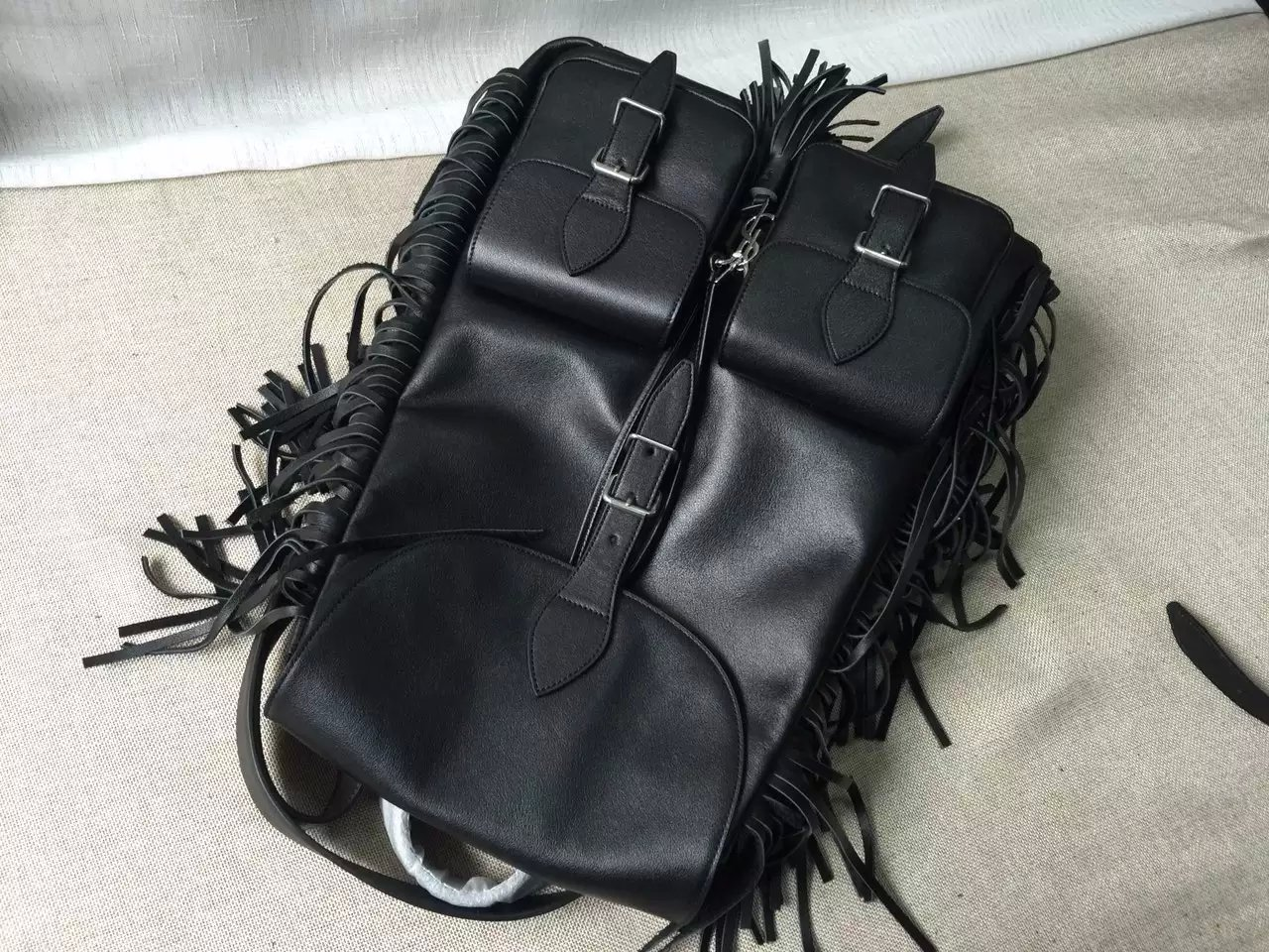 2016 Saint Laurent Bags Cheap Sale-Saint Laurent Festival Fringed Backpack in Black Leather