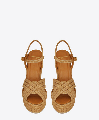 2016 Saint Laurent Shoes Cheap Sale-Saint Laurent Espadrille 95 Platform Sandal in Cognac Leather and Jute