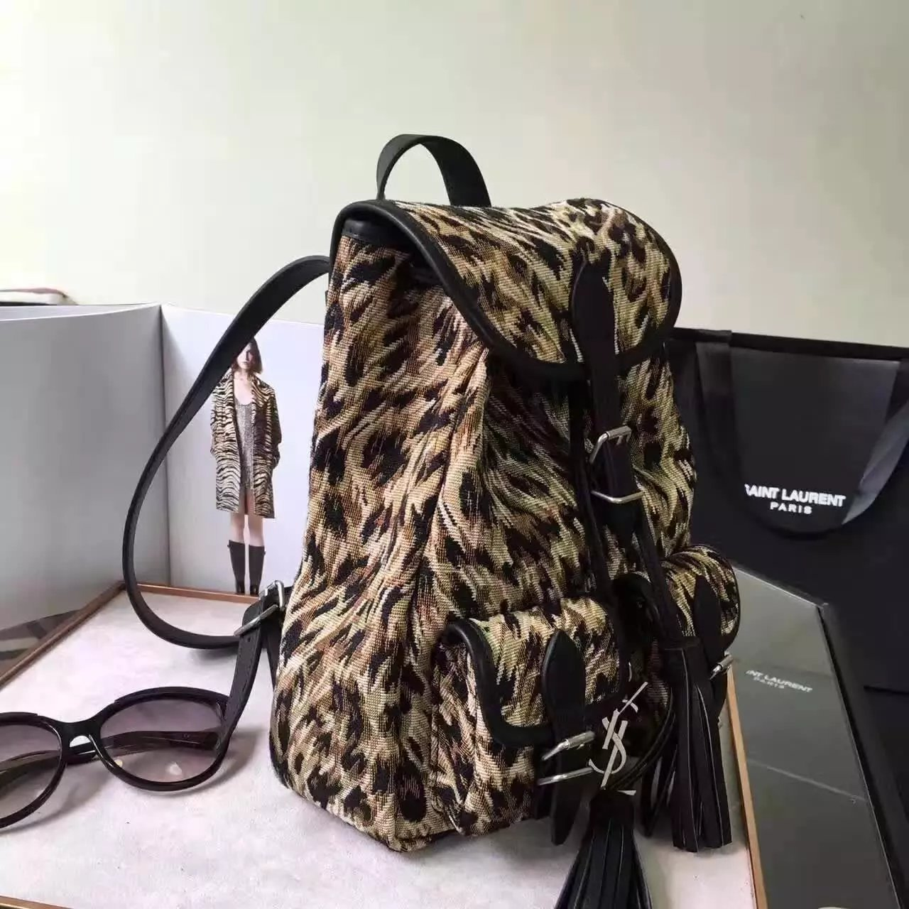 Limited Edition!2016 New Saint Laurent Bag Cheap Sale-Saint Laurent Small Festival Backpack in Natural and Black Leopard Woven Polyester and Cotton and Black Leather