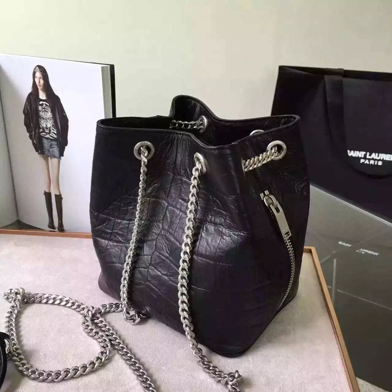 Limited Edition!2016 New Saint Laurent Bag Cheap Sale-Saint Laurent Classic Baby Emmanuelle Chain Bucket Bag in Black Crocodile Embossed Leather