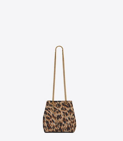 Limited Edition!2016 New Saint Laurent Bag Cheap Sale-Saint Laurent Classic Baby Emmanuelle Chain Bucket Bag in Natural and Black Leopard Woven Polyester and Cotton