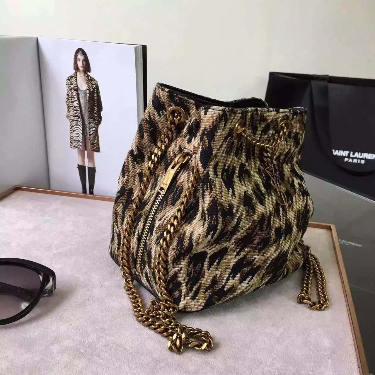Limited Edition!2016 New Saint Laurent Bag Cheap Sale-Saint Laurent Classic Baby Emmanuelle Chain Bucket Bag in Natural and Black Leopard Woven Polyester and Cotton - Click Image to Close