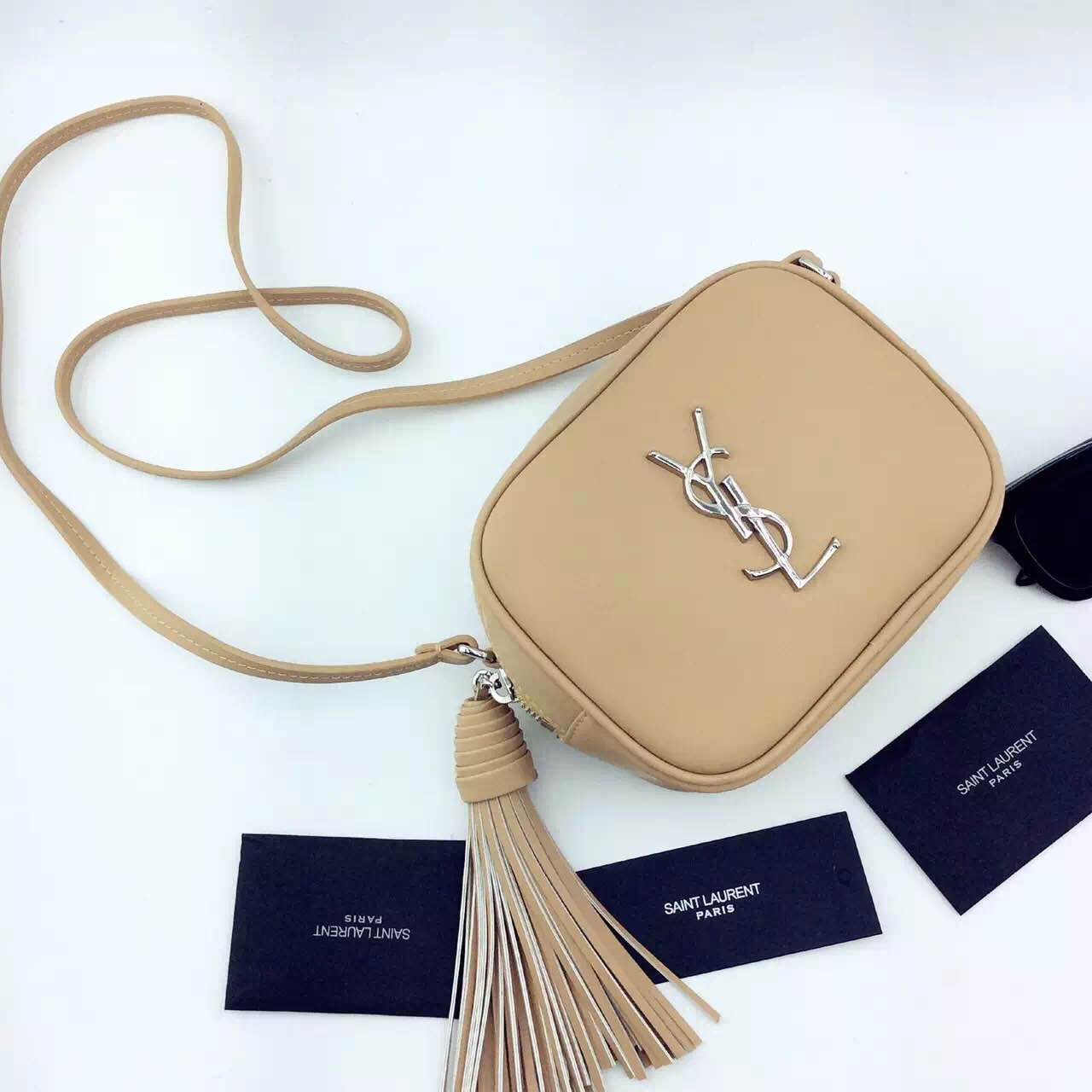 New Arrival!2016 Cheap YSL Out Sale with Free Shipping-Saint Laurent Monogram Medium Blogger Bag in Dark Beige Leather