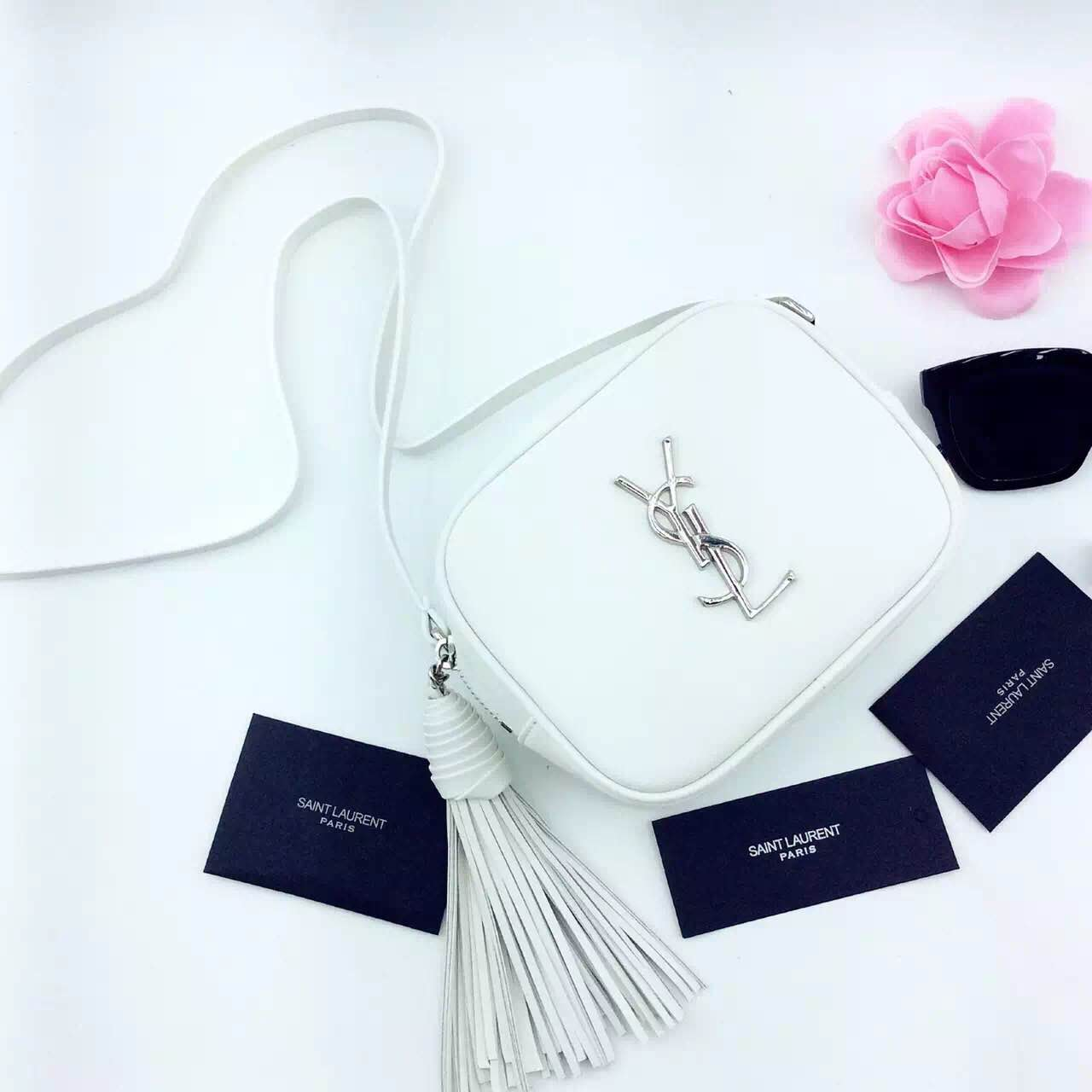 New Arrival!2016 Cheap YSL Out Sale with Free Shipping-Saint Laurent Monogram Medium Blogger Bag in Dove White Leather