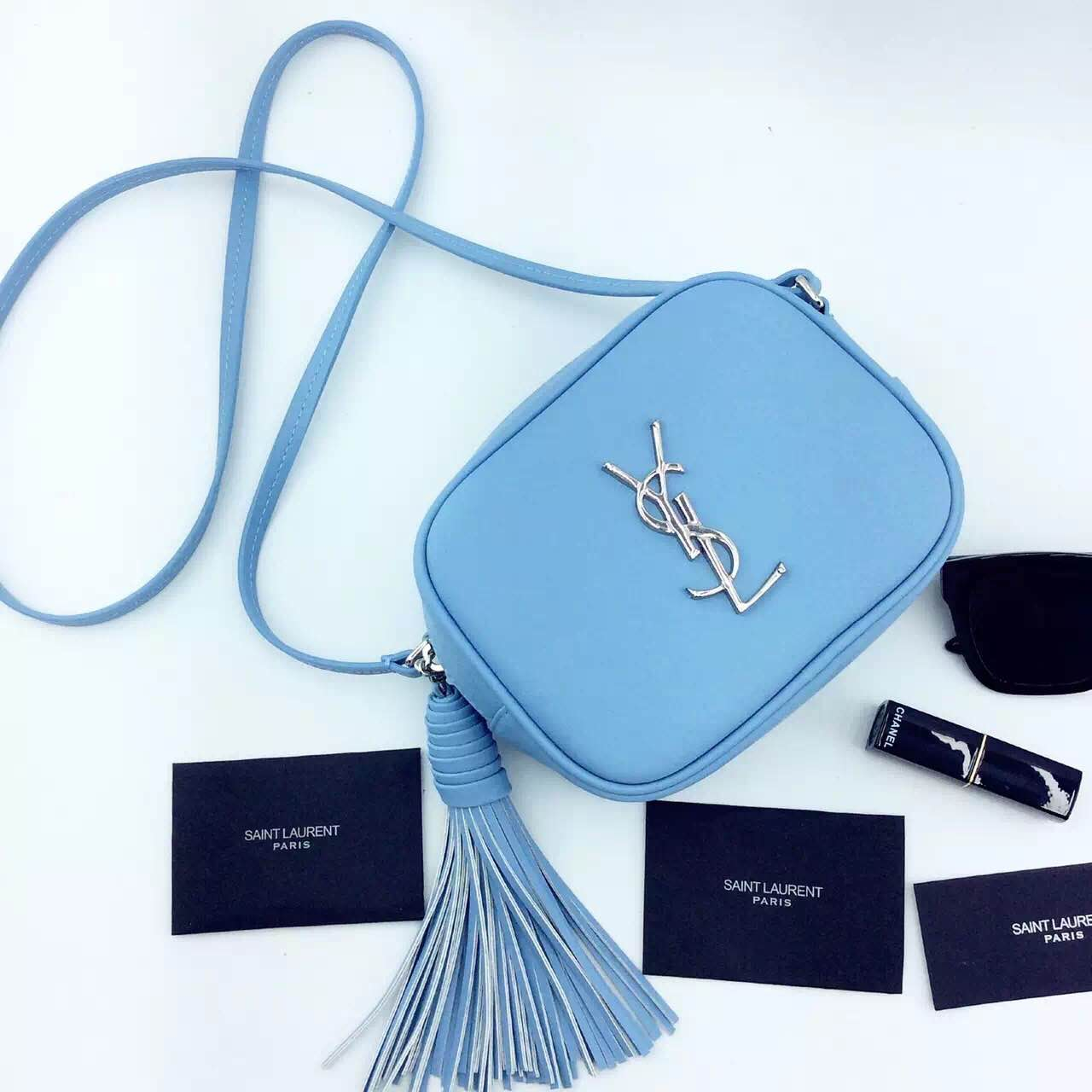 New Arrival!2016 Cheap YSL Out Sale with Free Shipping-Saint Laurent Monogram Medium Blogger Bag in Light Blue Leather