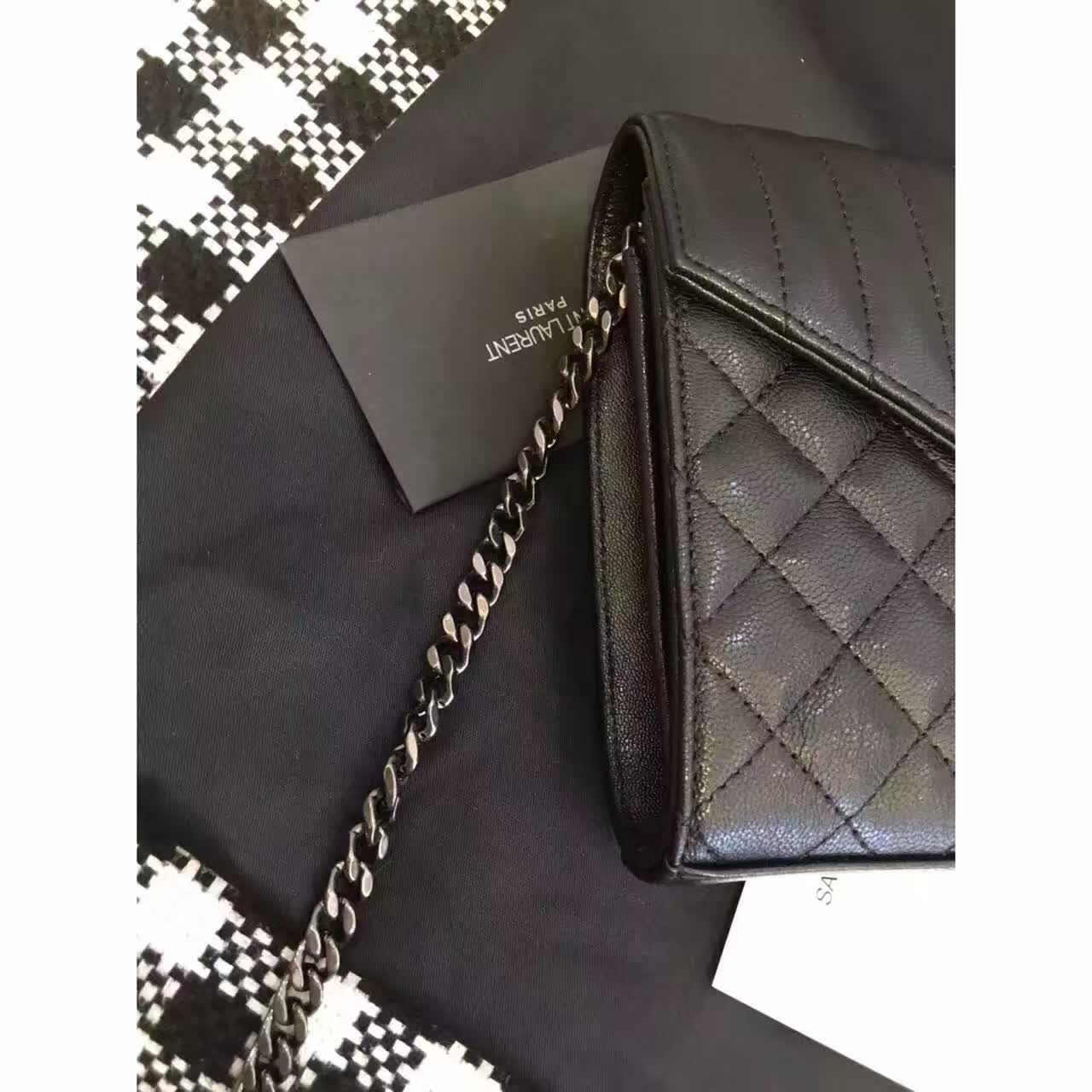 2016 Cheap YSL Out Sale with Free Shipping-Saint Laurent Chain Wallet in in Dark Anthracite Mixed Matelasse Leather
