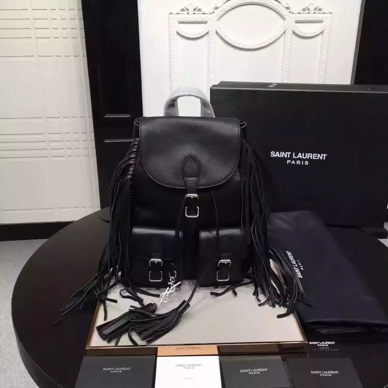 2016 Saint Laurent Bags Cheap Sale-Saint Laurent Small Festival Fringed Backpack in Black Leather