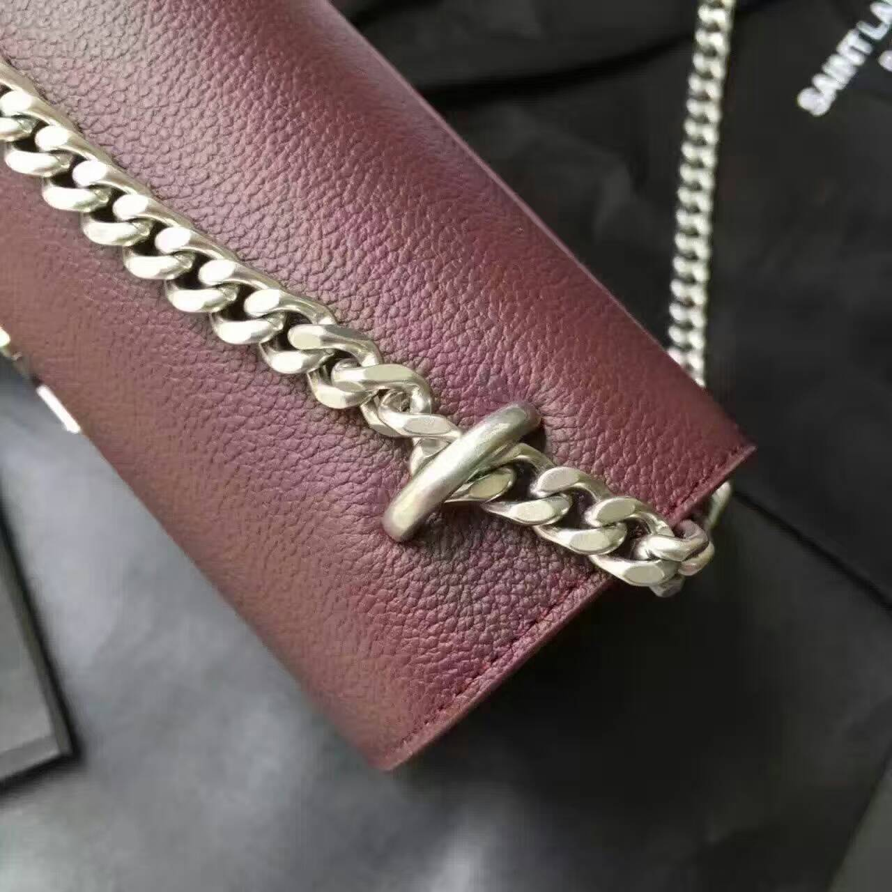 Limited Edition!2016 Saint Laurent Bags Cheap Sale-Saint Laurent Medium Sunset Monogram Bag in Bordeaux Grained Leather
