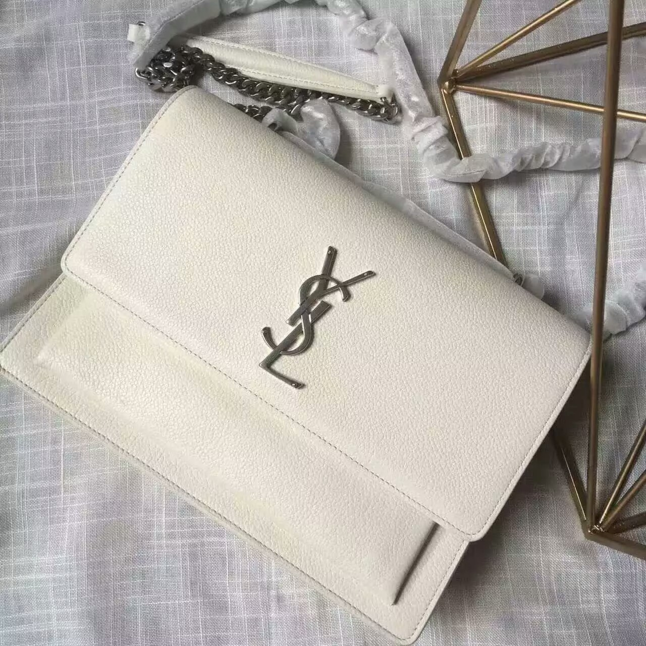 Limited Edition!2016 Saint Laurent Bags Cheap Sale-Saint Laurent Medium Sunset Monogram Bag in Dove White Grained Leather