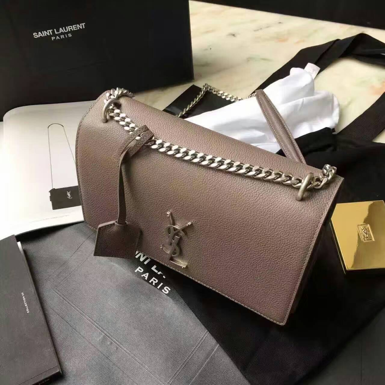 Limited Edition!2016 Saint Laurent Bags Cheap Sale-Saint Laurent Medium Sunset Monogram Bag in Taupe Grained Leather