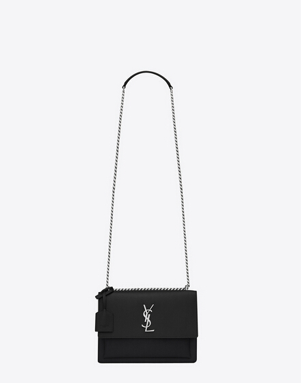 Limited Edition!2016 Saint Laurent Bags Cheap Sale-Saint Laurent Medium Sunset Monogram Bag in Black Grained Leather