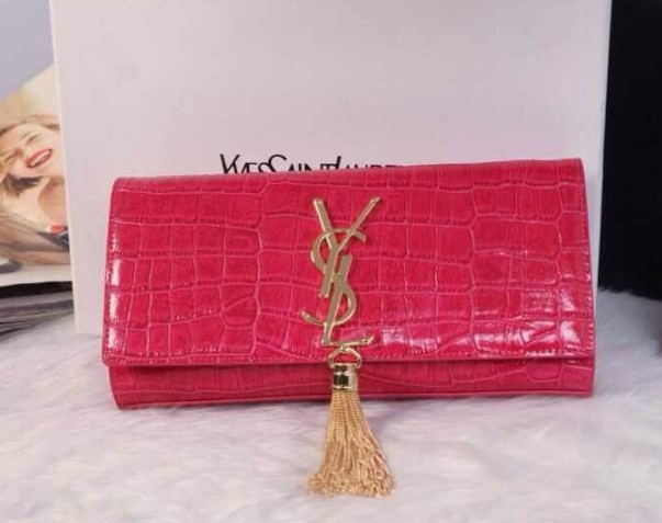 12014 Cheap Ysl clutch crocdile in pink,ysl wallet sale