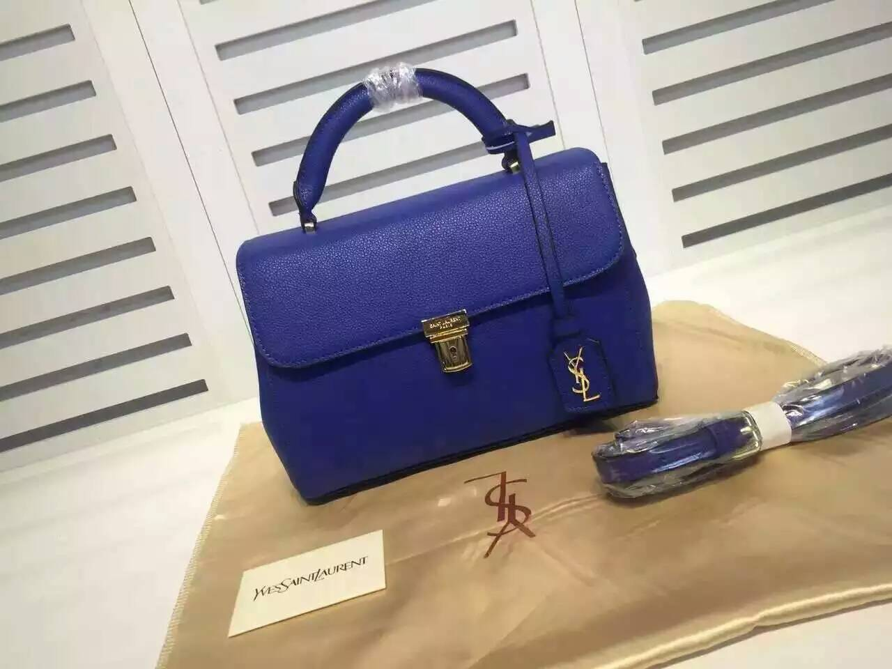 Fall/Winter 2015 Saint Laurent Bag Cheap Sale-Saint Laurent Top Handle Bag in Blue Grained Calfskin Leather