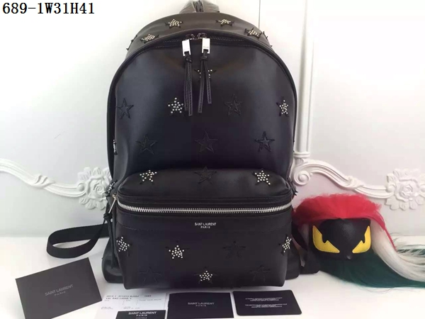 2016 Saint Laurent Bags Cheap Sale-Saint Laurent Classic Hunting Backpack in Black Leather 689-1BLACK