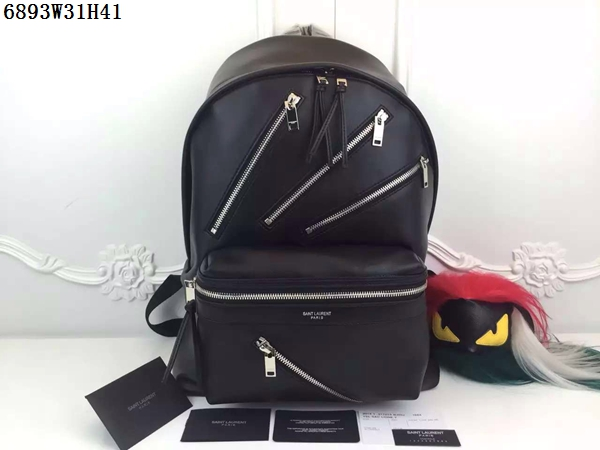 2016 Saint Laurent Bags Cheap Sale-Saint Laurent Zippy Hunting Backpack in Black Leather