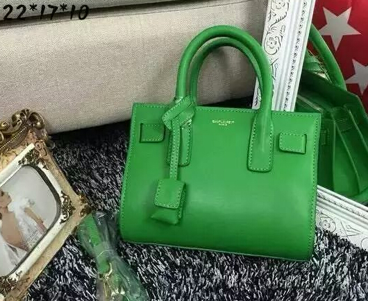 2015 New Saint Laurent Bag Cheap Sale-2015 New Saint Laurent Bag Cheap Sale-Saint Laurent Classic Small Sac De Jour Bag in Grass Green Leather