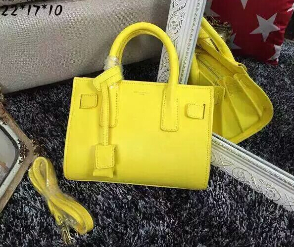 2015 New Saint Laurent Bag Cheap Sale-2015 New Saint Laurent Bag Cheap Sale-Saint Laurent Classic Small Sac De Jour Bag in Lemon Leather